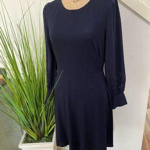 Loft dark blue dress with sweet sleeves